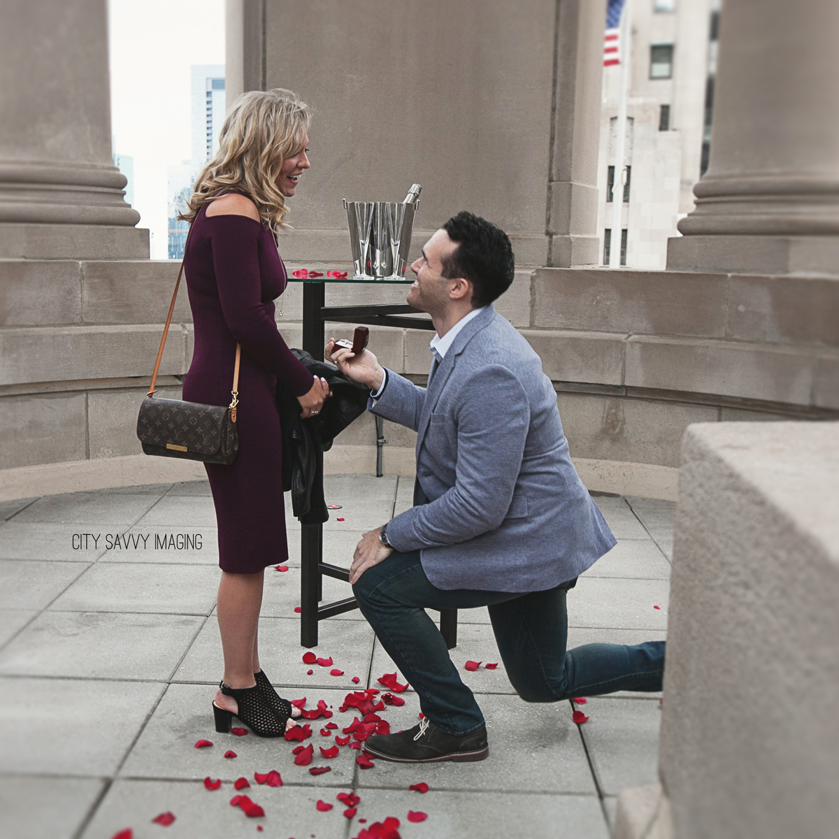 LondonHouse Chicago Surprise Engagement Rooftop Cupola